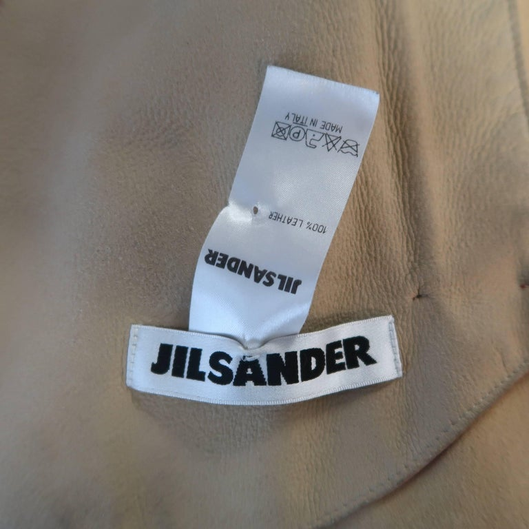 JIL SANDER Size L Red Raw Edge Leather Collarless Zip Jacket For Sale 5