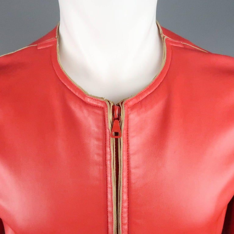 JIL SANDER Size L Red Raw Edge Leather Collarless Zip Jacket In Good Condition For Sale In San Francisco, CA