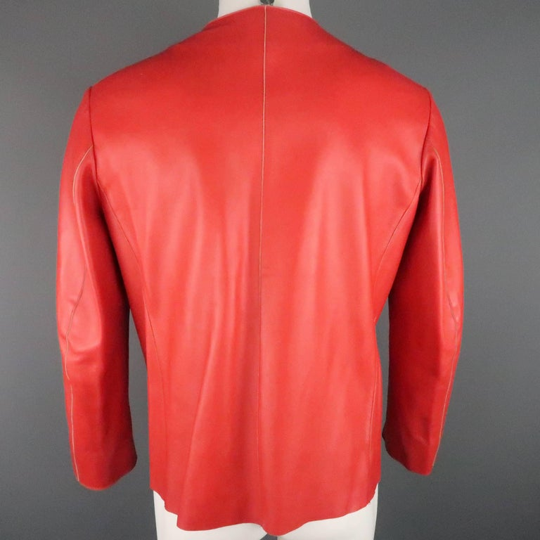 JIL SANDER Size L Red Raw Edge Leather Collarless Zip Jacket For Sale 2