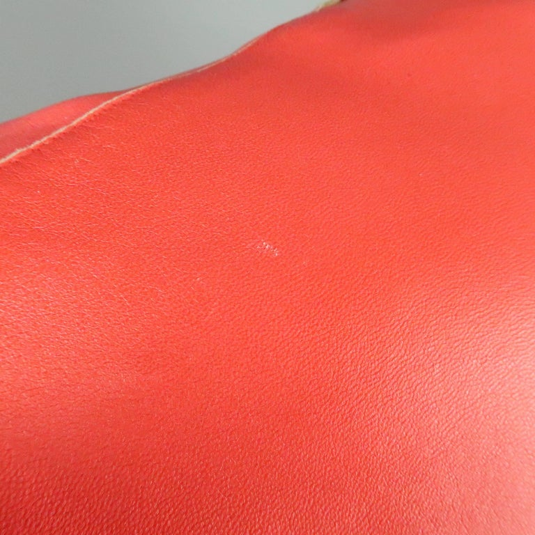 JIL SANDER Size L Red Raw Edge Leather Collarless Zip Jacket For Sale 4