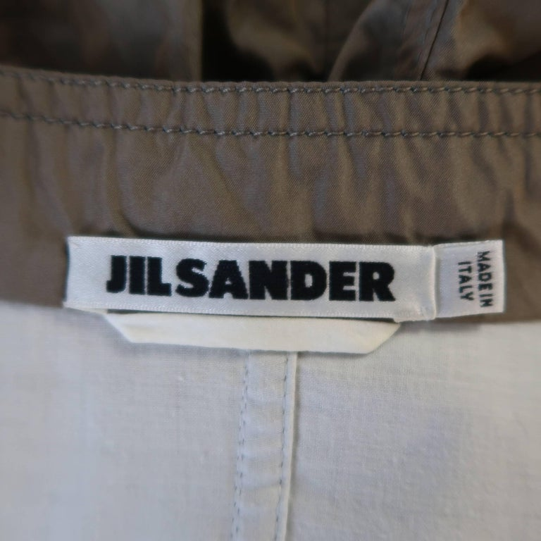 JIL SANDER Size 4 Taupe Iridescent Wrinkled Taffeta Jacket For Sale 1