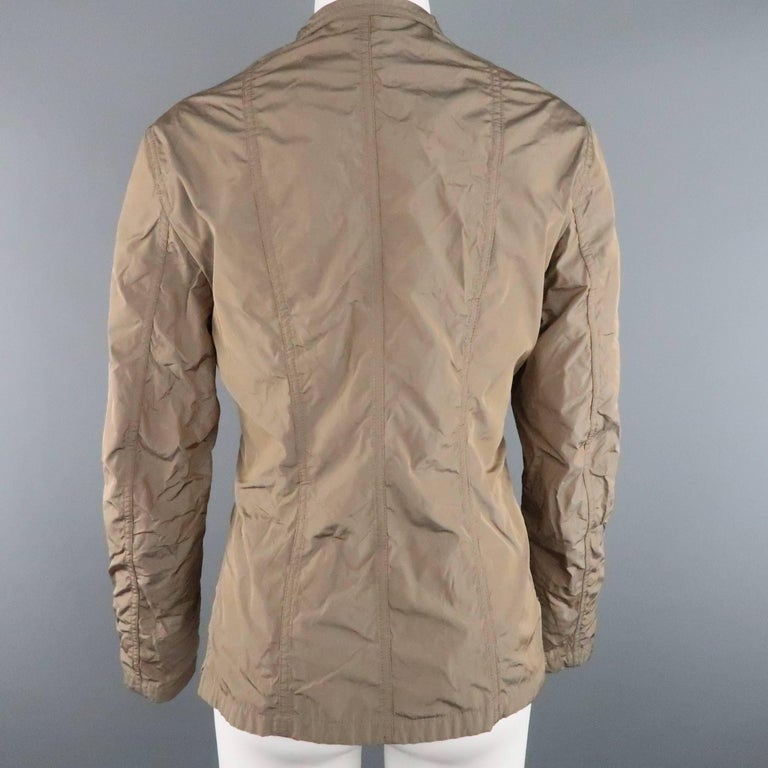Women's JIL SANDER Size 4 Taupe Iridescent Wrinkled Taffeta Jacket For Sale