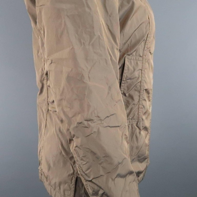 Brown JIL SANDER Size 4 Taupe Iridescent Wrinkled Taffeta Jacket For Sale