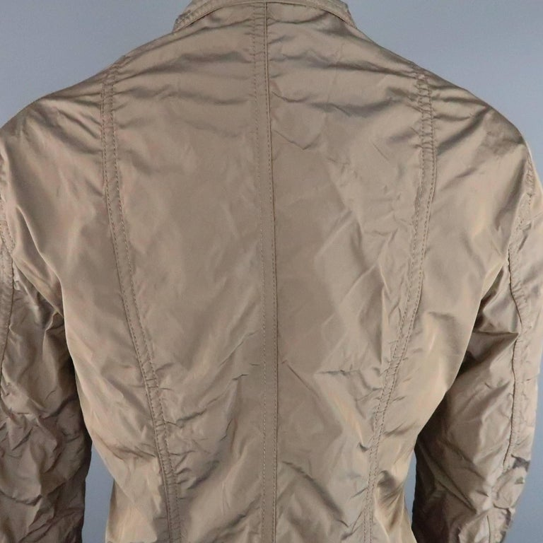 JIL SANDER Size 4 Taupe Iridescent Wrinkled Taffeta Jacket In Excellent Condition For Sale In San Francisco, CA