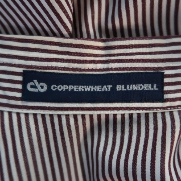 COPPERWHEAT BLUNDELL 12 Burgundy Stripe Cotton Asymmetrical French Cuff Blouse 8