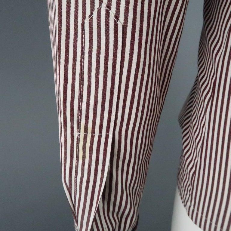 COPPERWHEAT BLUNDELL 12 Burgundy Stripe Cotton Asymmetrical French Cuff Blouse 6