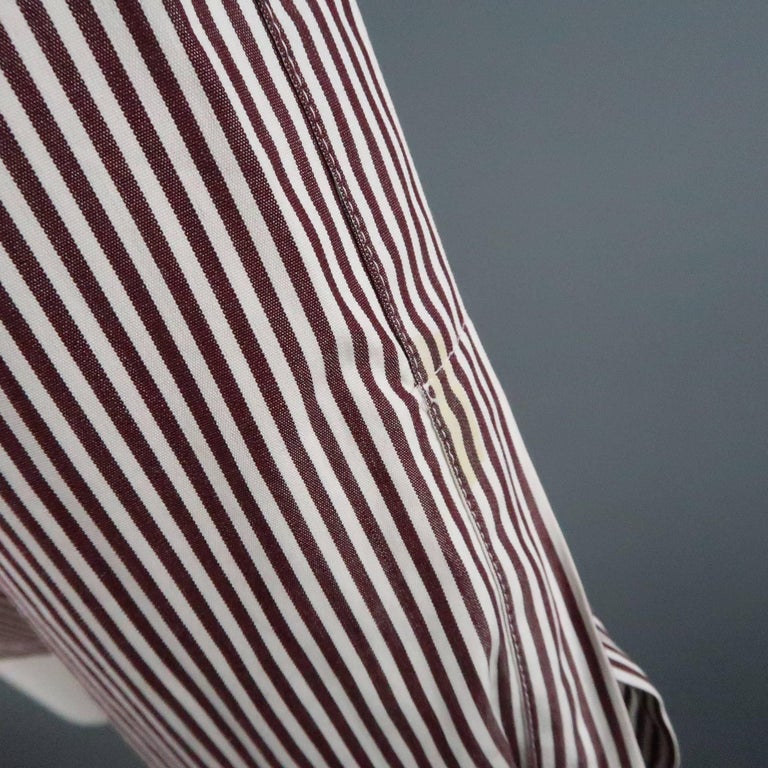 COPPERWHEAT BLUNDELL 12 Burgundy Stripe Cotton Asymmetrical French Cuff Blouse 7