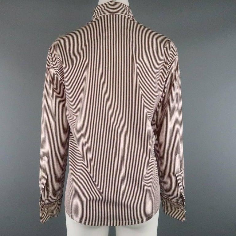 COPPERWHEAT BLUNDELL 12 Burgundy Stripe Cotton Asymmetrical French Cuff Blouse 5