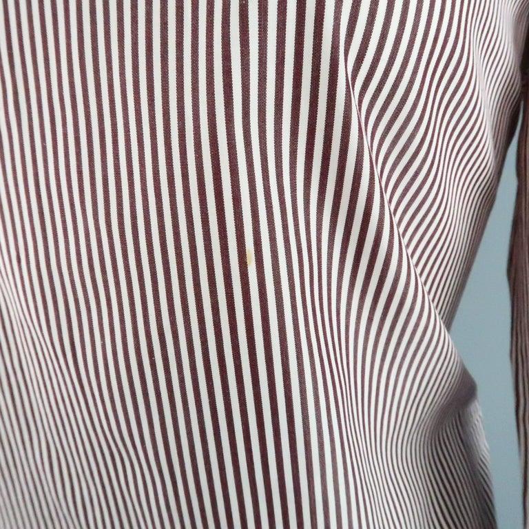 COPPERWHEAT BLUNDELL 12 Burgundy Stripe Cotton Asymmetrical French Cuff Blouse 4
