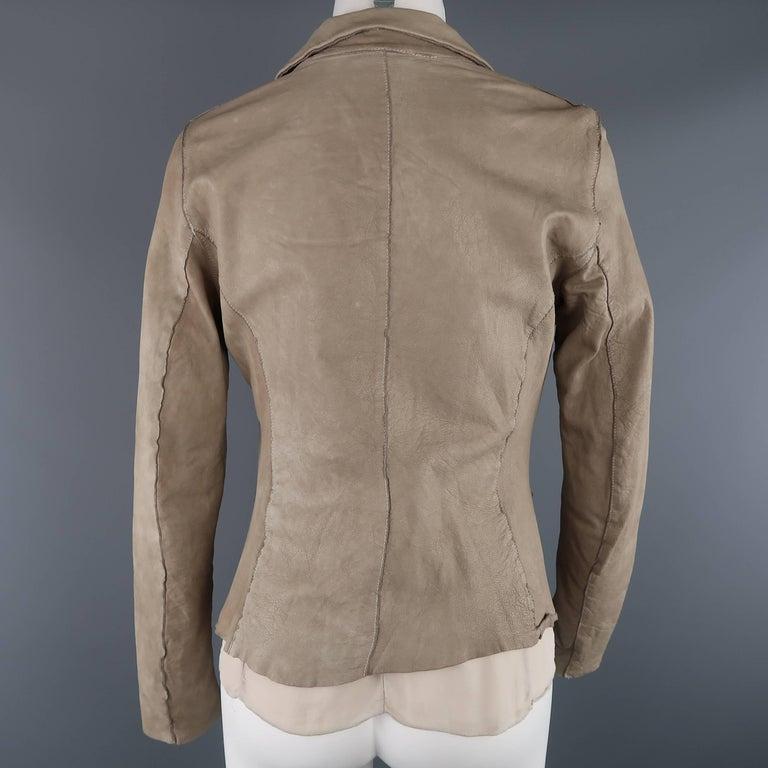 TRANSIT PAR-SUCK Size M Taupe Distressed Dyed Leather Notch Lapel Jacket For Sale 2