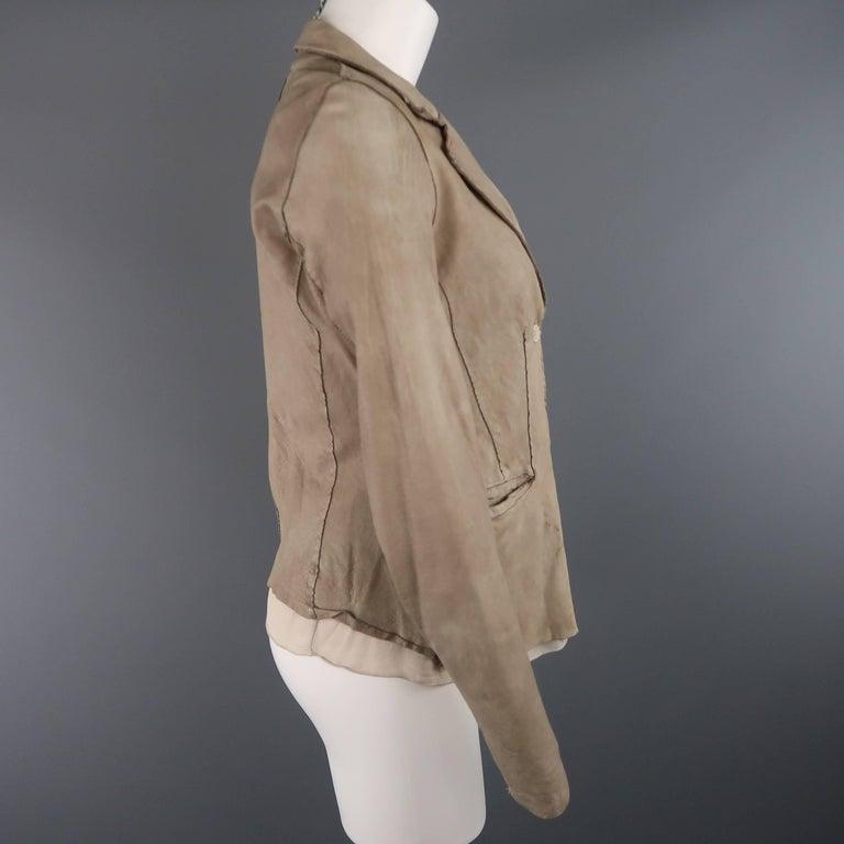 Women's TRANSIT PAR-SUCK Size M Taupe Distressed Dyed Leather Notch Lapel Jacket For Sale
