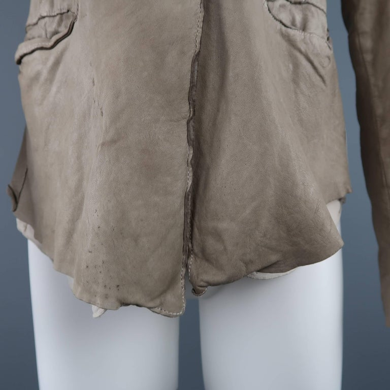 TRANSIT PAR-SUCK Size M Taupe Distressed Dyed Leather Notch Lapel Jacket In Good Condition For Sale In San Francisco, CA