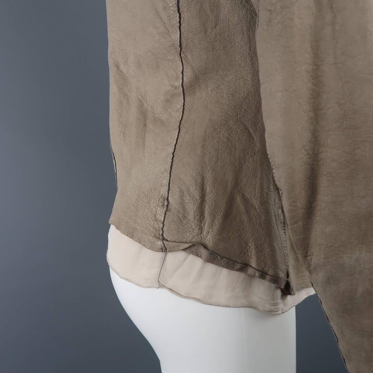 TRANSIT PAR-SUCK Size M Taupe Distressed Dyed Leather Notch Lapel Jacket For Sale 1