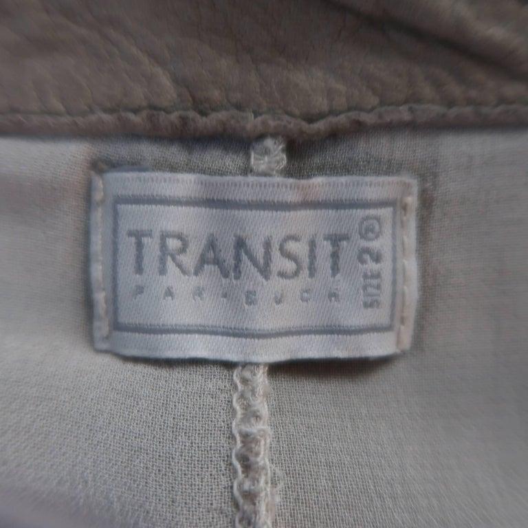 TRANSIT PAR-SUCK Size M Taupe Distressed Dyed Leather Notch Lapel Jacket For Sale 5