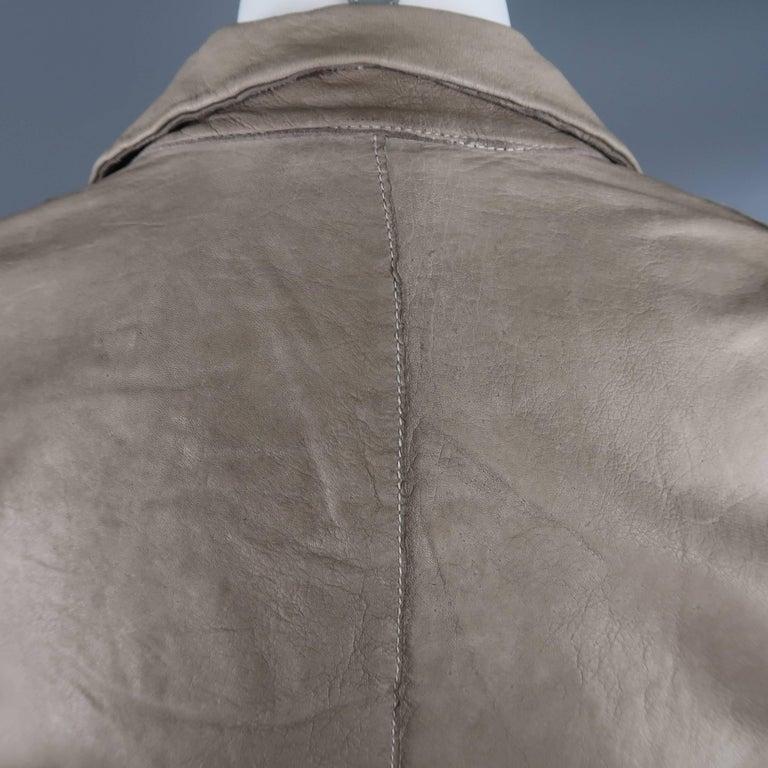 TRANSIT PAR-SUCK Size M Taupe Distressed Dyed Leather Notch Lapel Jacket For Sale 3