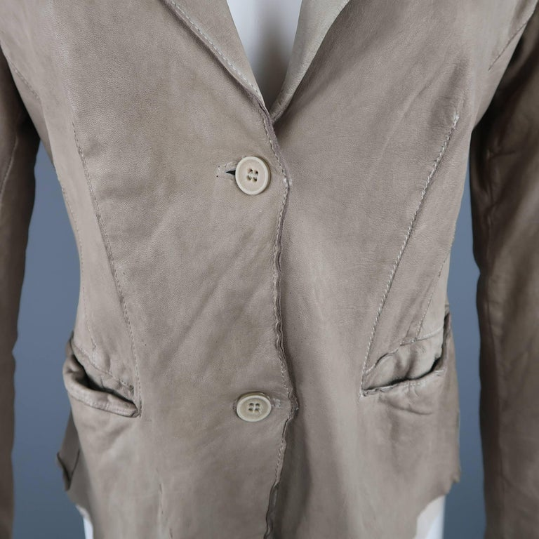 Brown TRANSIT PAR-SUCK Size M Taupe Distressed Dyed Leather Notch Lapel Jacket For Sale