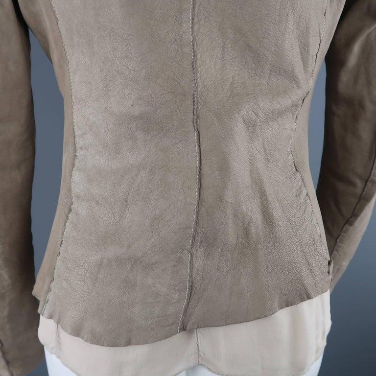 TRANSIT PAR-SUCK Size M Taupe Distressed Dyed Leather Notch Lapel Jacket For Sale 4