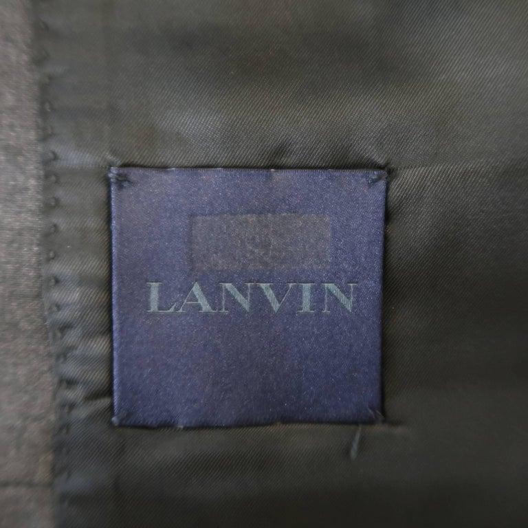 Men's LANVIN 40 Short Charcoal Wool Black Satin Trim Peak Lapel Suit For Sale 7