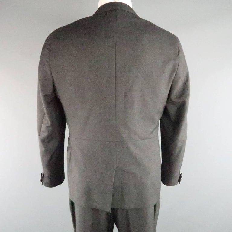Men's LANVIN 40 Short Charcoal Wool Black Satin Trim Peak Lapel Suit For Sale 4