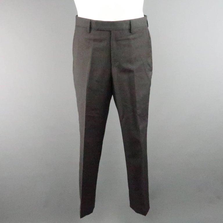 Men's LANVIN 40 Short Charcoal Wool Black Satin Trim Peak Lapel Suit For Sale 5