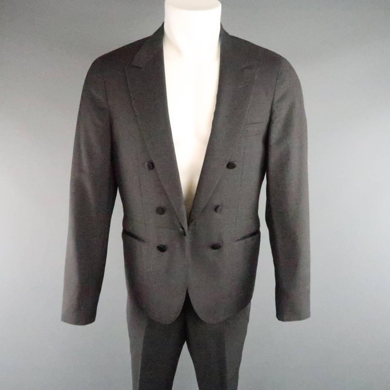 LANVIN tuxedo style suit comes in dark gray wool and includes a peak lapel dinner jacket with black satin buttons and matching flat front trousers. button closure has one side replaced with a regular button. As-Is. Made in Italy.   Good Pre-Owned