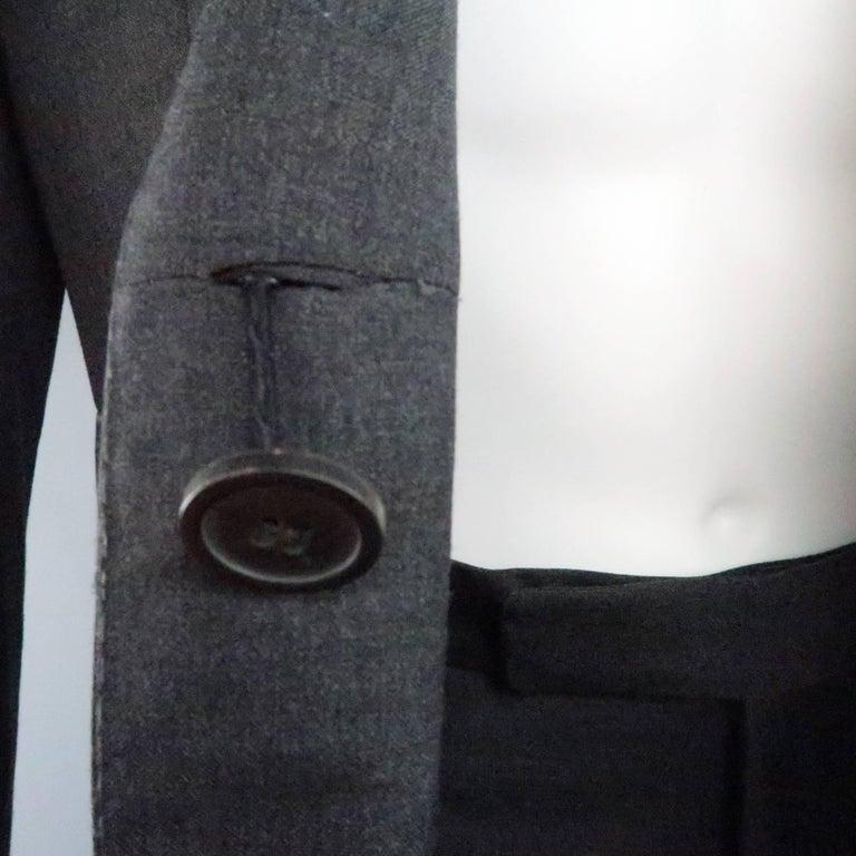 Men's LANVIN 40 Short Charcoal Wool Black Satin Trim Peak Lapel Suit For Sale 3