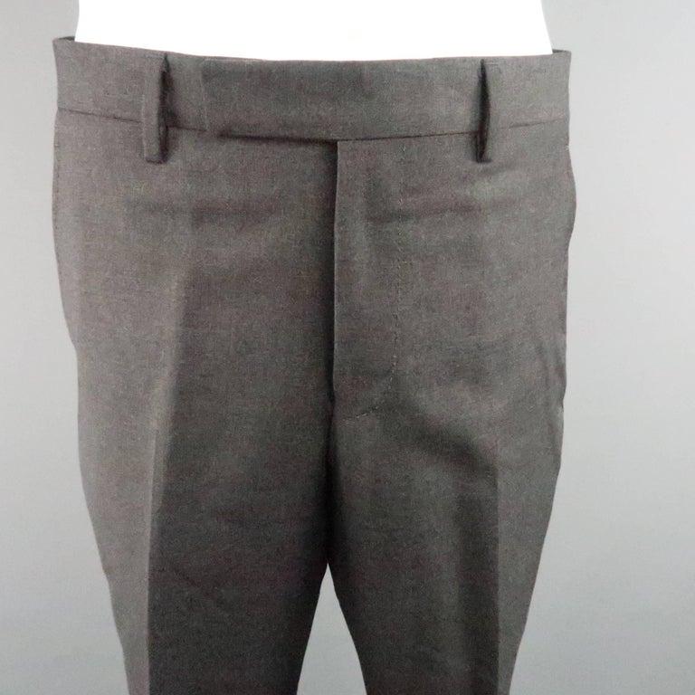 Men's LANVIN 40 Short Charcoal Wool Black Satin Trim Peak Lapel Suit For Sale 6