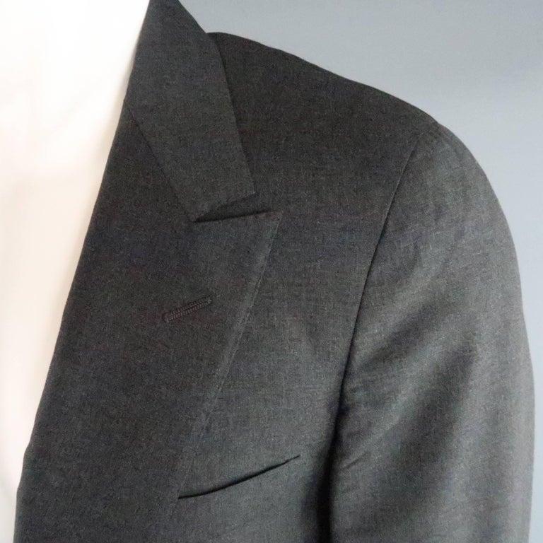 Men's LANVIN 40 Short Charcoal Wool Black Satin Trim Peak Lapel Suit For Sale 2