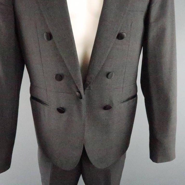 Men's LANVIN 40 Short Charcoal Wool Black Satin Trim Peak Lapel Suit In Good Condition For Sale In San Francisco, CA