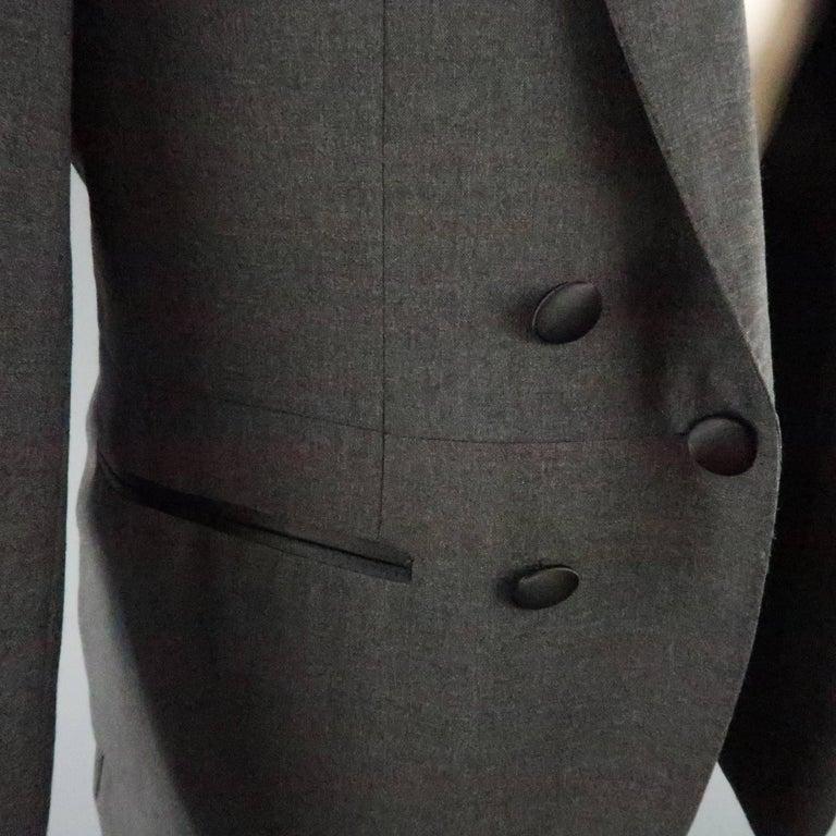 Men's LANVIN 40 Short Charcoal Wool Black Satin Trim Peak Lapel Suit For Sale 1