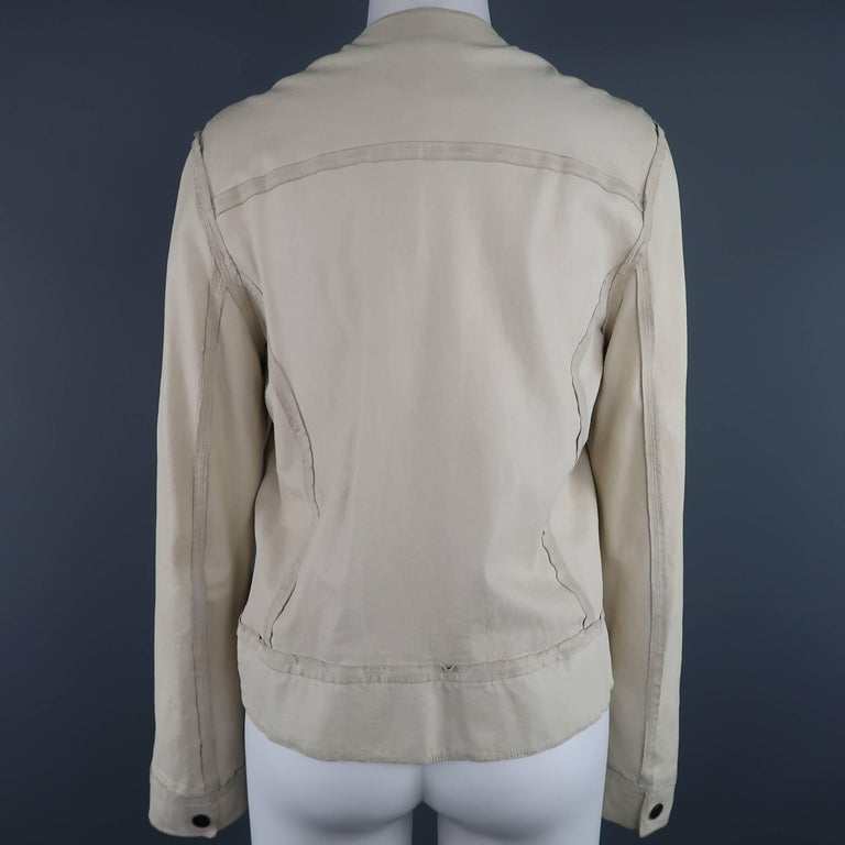 Women's LANVIN Size 4 Off White Leather Collarless Ruffle Zip Jacket For Sale