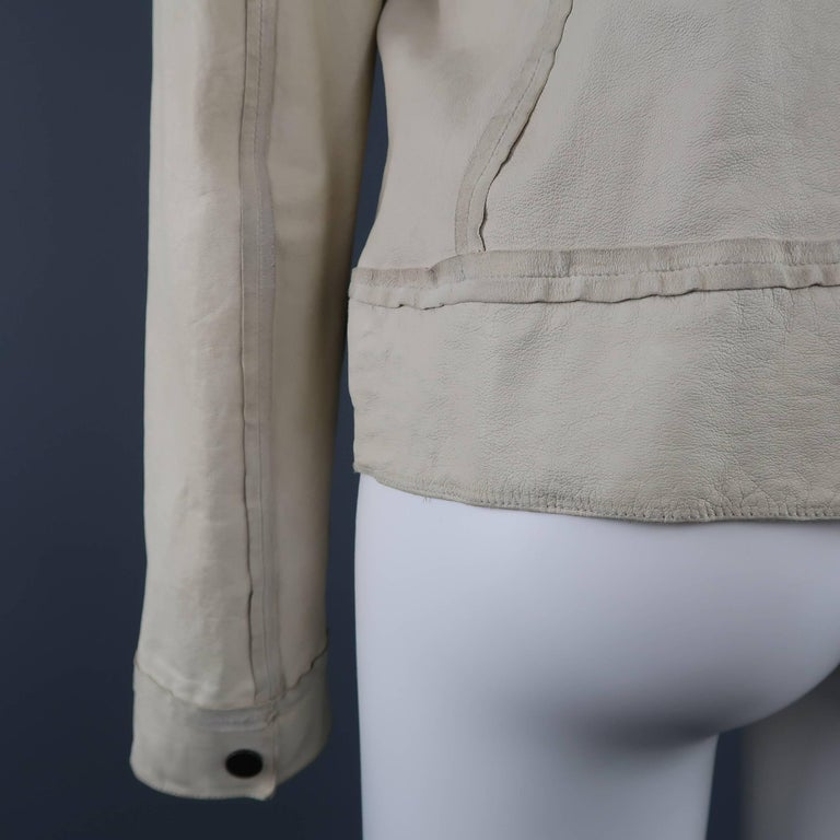 LANVIN Size 4 Off White Leather Collarless Ruffle Zip Jacket For Sale 1