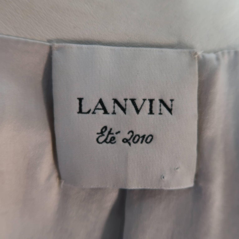 LANVIN Size 4 Off White Leather Collarless Ruffle Zip Jacket For Sale 2