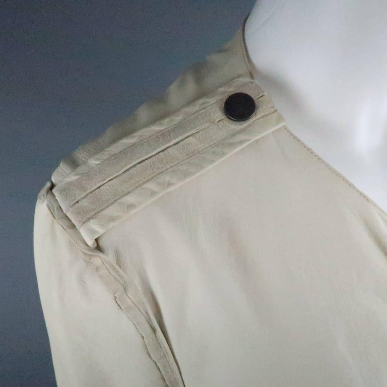 LANVIN Size 4 Off White Leather Collarless Ruffle Zip Jacket In Good Condition For Sale In San Francisco, CA
