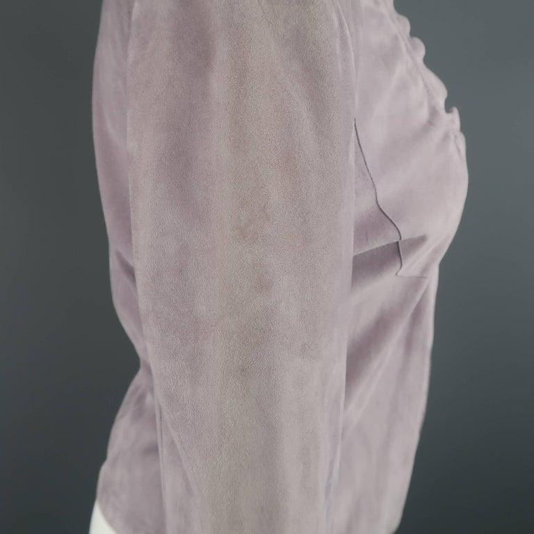 GIORGIO ARMANI Size 12 Lavender Suede Ruffle Trim Cardigan Jacket For Sale 3