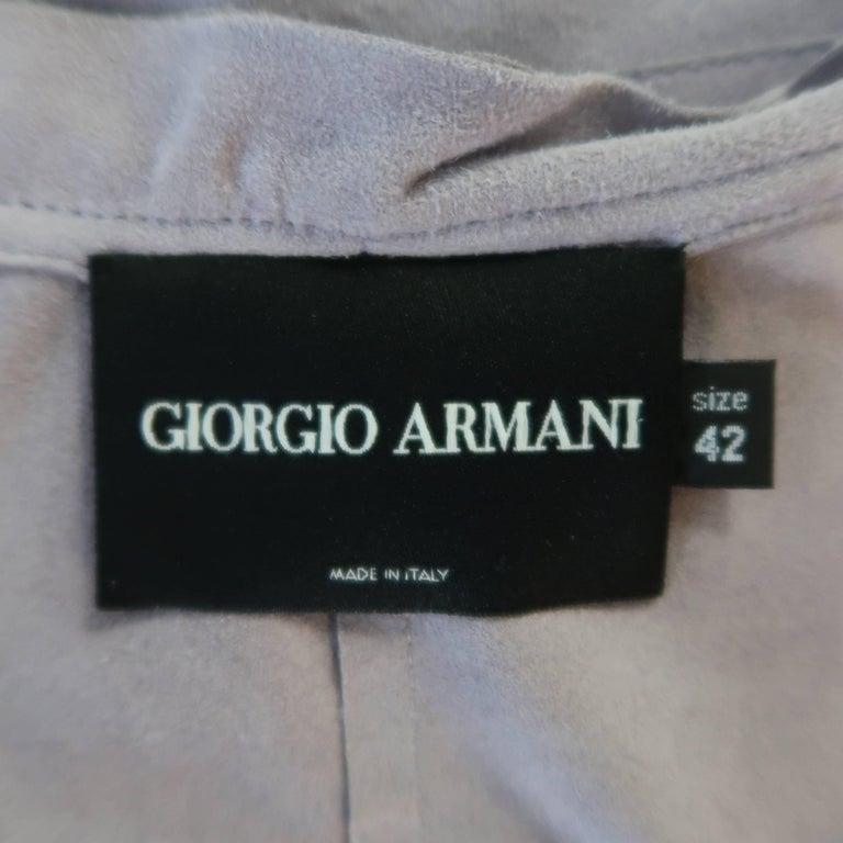 GIORGIO ARMANI Size 12 Lavender Suede Ruffle Trim Cardigan Jacket For Sale 5