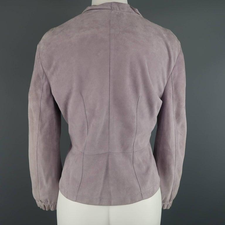 GIORGIO ARMANI Size 12 Lavender Suede Ruffle Trim Cardigan Jacket For Sale 4