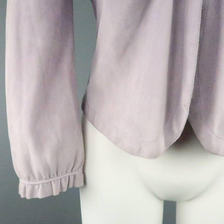GIORGIO ARMANI Size 12 Lavender Suede Ruffle Trim Cardigan Jacket In Fair Condition For Sale In San Francisco, CA