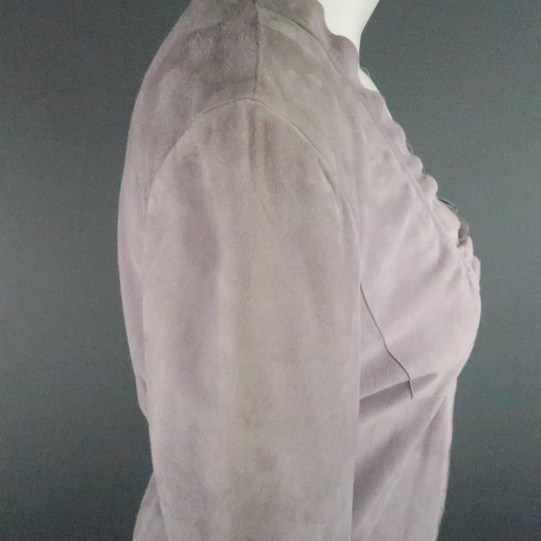 GIORGIO ARMANI Size 12 Lavender Suede Ruffle Trim Cardigan Jacket For Sale 1