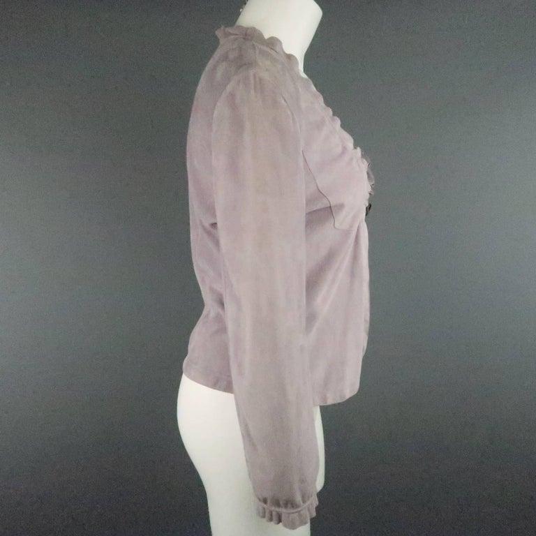 Women's GIORGIO ARMANI Size 12 Lavender Suede Ruffle Trim Cardigan Jacket For Sale