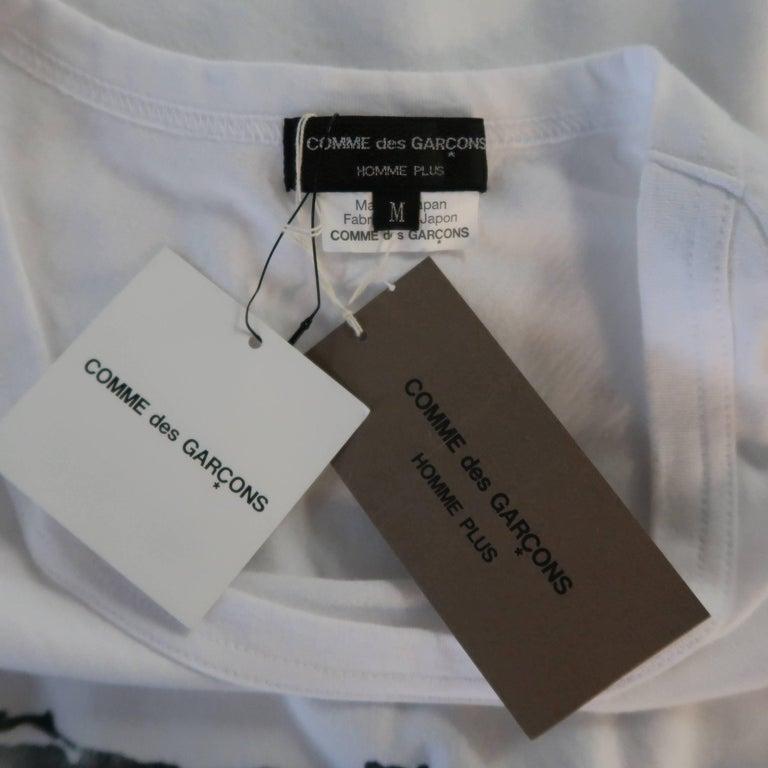 Men's COMME des GARCONS Size M White Roger Ballen Cotton Tall T-shirt For Sale 3