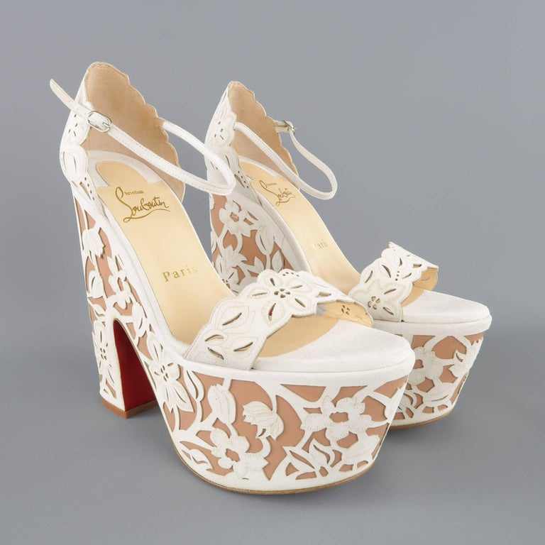 CHRISTIAN LOUBOUTIN Size 9 Off White Floral Suede Platform 'Houghton' Sandals 4