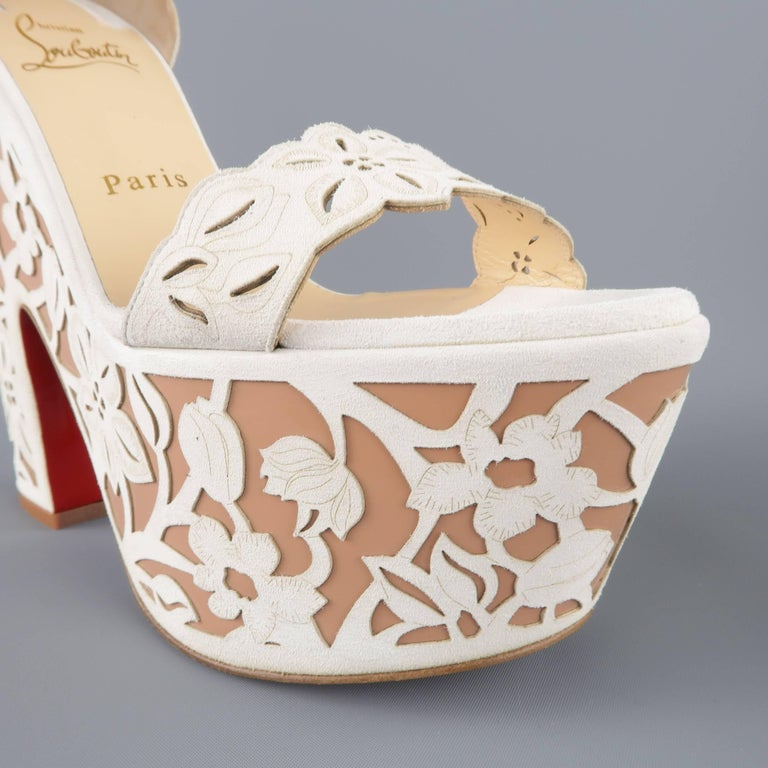 CHRISTIAN LOUBOUTIN Size 9 Off White Floral Suede Platform 'Houghton' Sandals 3