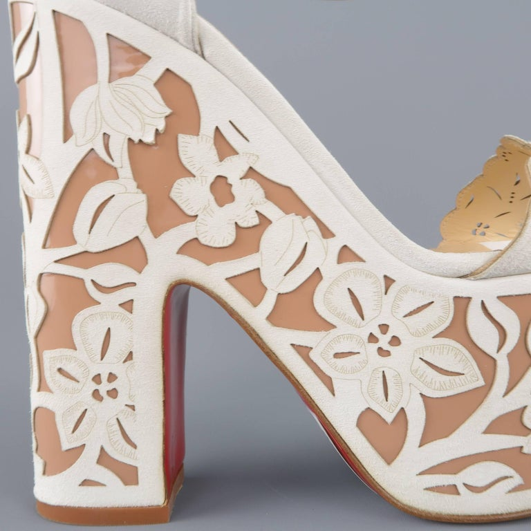 CHRISTIAN LOUBOUTIN Size 9 Off White Floral Suede Platform 'Houghton' Sandals 2
