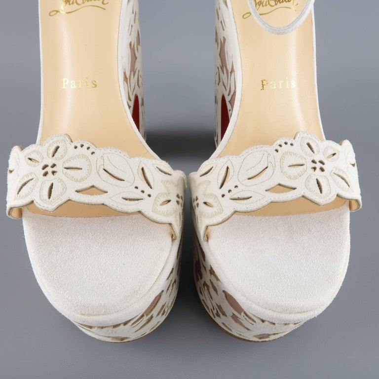 CHRISTIAN LOUBOUTIN Size 9 Off White Floral Suede Platform 'Houghton' Sandals 6