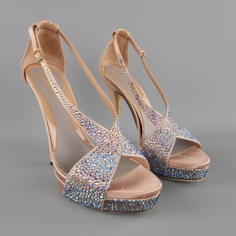 GUCCI Size 8.5 Tan Silk & Patent Leather Blue Rhinestone Sofia Etoile Sandals In Excellent Condition For Sale In San Francisco, CA