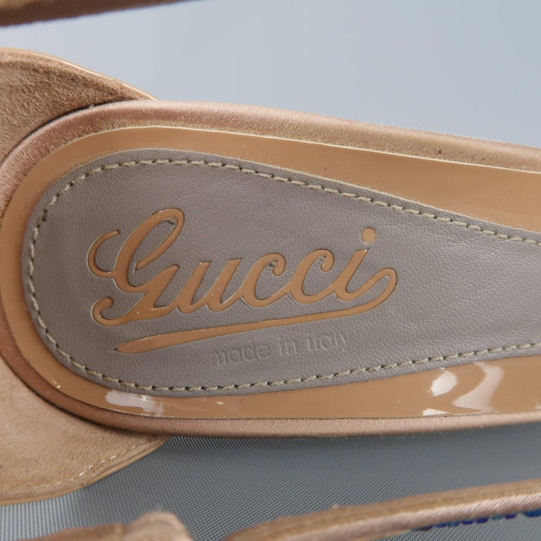 GUCCI Size 8.5 Tan Silk & Patent Leather Blue Rhinestone Sofia Etoile Sandals For Sale 3