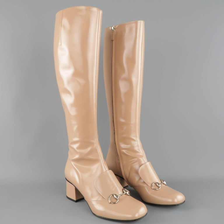 GUCCI Size 8.5 Tan Glossy Leather Horsebit 'Lillian' Knee Boots 2