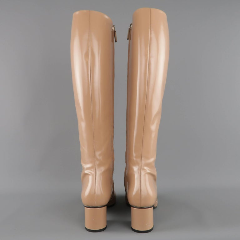 GUCCI Size 8.5 Tan Glossy Leather Horsebit 'Lillian' Knee Boots 6