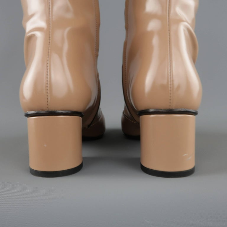 GUCCI Size 8.5 Tan Glossy Leather Horsebit 'Lillian' Knee Boots 7